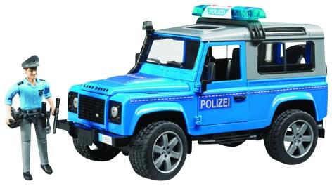 Bruder Land Rover Defender Station Wagon Polizeifahrzeug mit Polizist und Ausstattung