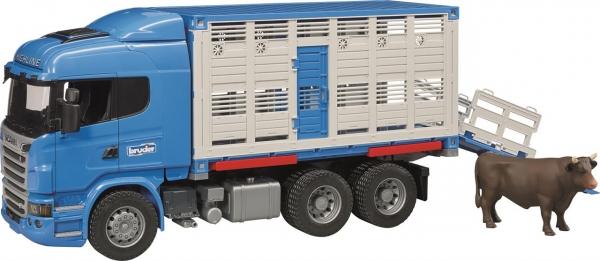 Bruder Tiertransporter-LKW mit 1 Rind Scania R-Serie